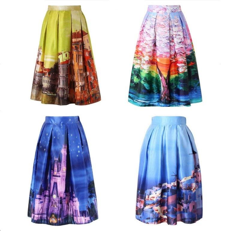 onen onen instyles High Waist Tutu Skirts Women Vintage Fairy Tales Landscape Printed Ball Gown Midi Skirt