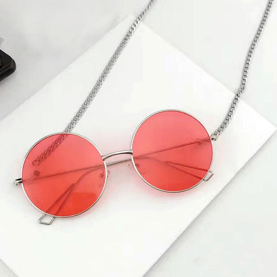 Popular man woman round metal uv400 sunglasses with good colorful resin lenses and unique metal chain design