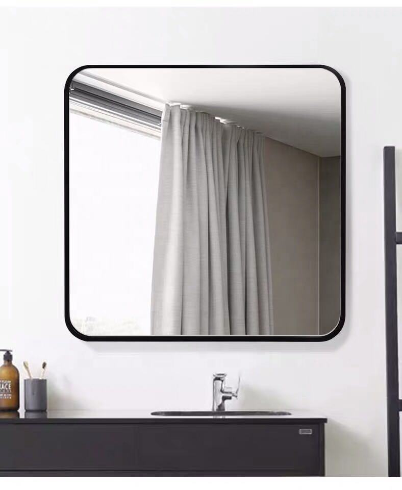 SWT Modern Hotel Metal Frame Vanity Mirror Square Round Corner Bathroom Matt Black Glass Mirror