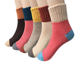 Custom cosy thick warm womans wool winter thermal crew socks for wholesale