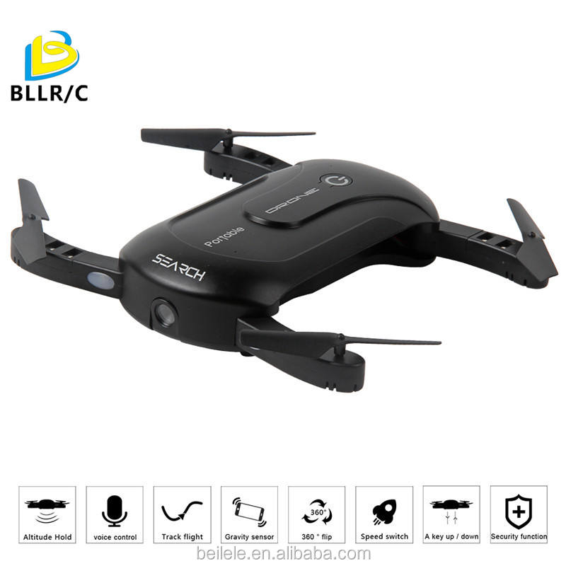 BLLRC T906W Foldable aircraft Wifi Phone Control Quadcopter with 0.3MP HD camera 360 degree rotation A key to return,Black
