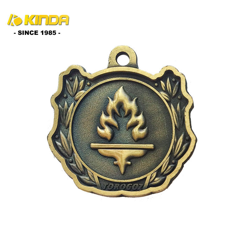 Wholesale high quality custom brass antique gold finish fire logo religious catholic medals/medallions