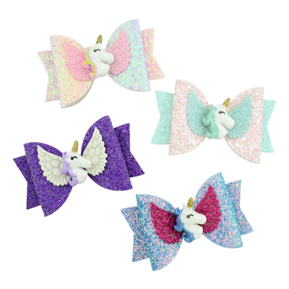 Children's bow hairpin unicorn hairpin bright pink half wrap baby hair clip