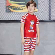 Short Sleeve Teenage Boy Red Two Piece Swimwear Children  Cartoon Swimsuit