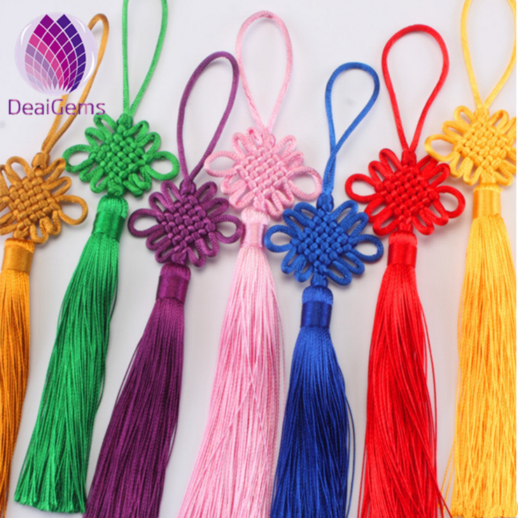 Handmade polyester lucky Chinese knot with tassels for lantern decoration