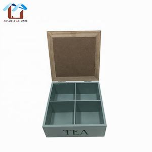 Wooden Tea Bag Compartment Organizer Storage Box