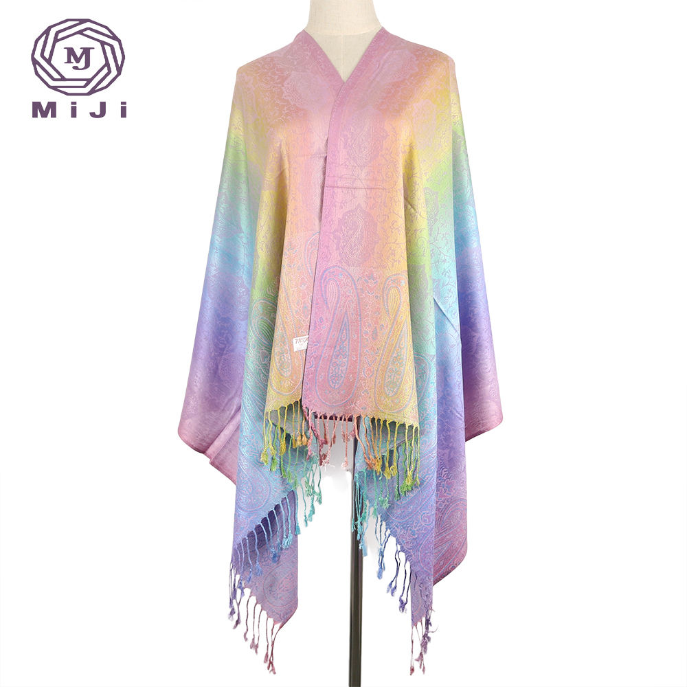 Winter cashmere women's long scarf rainbow pashmina