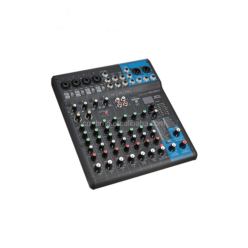 BMG best Wholesale BM10XU 10 Channel 3 band 1 Aux Studio Audio Mixer Mixing Console with USB for Stage and Studio