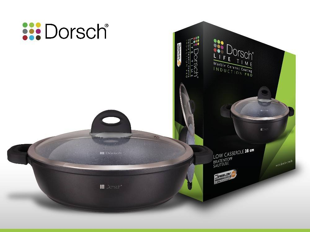 DIE CAST CERAMIC MARBLE NON STICK COATING  INDUCTION COOKER LOW CASSEROLE