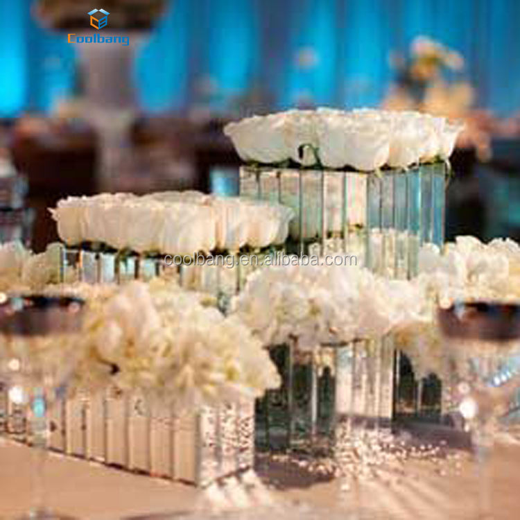 Vertical glass mirror vase wedding mirrored vase with artificial flowers