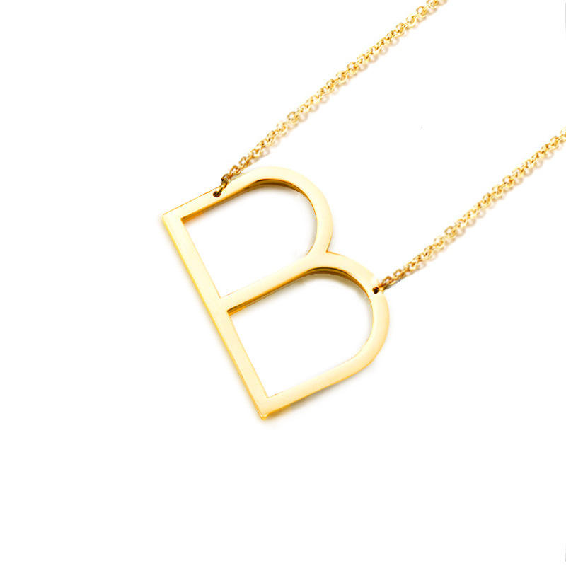 New Gold Tone A-Z Big Letter Alphabet Pendant Necklace High Polished Initial Letter Alphabet B Stainless Steel Pendant Necklace