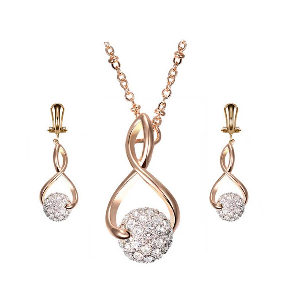Luxury Clear Rhinestones African Gold Plated Jewelry Sets Wholesale