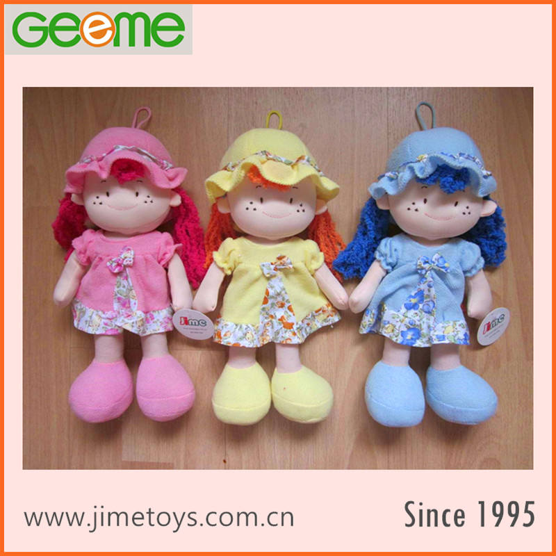 JM8852 30cm Soft Girl Rag Doll Toy with Color Hair