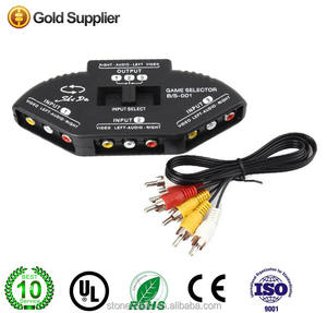 3 Port AV Composite + Audio RCA Phono Selector Switch For Video Audio Switching 3 in 1 AV Switch Splitter