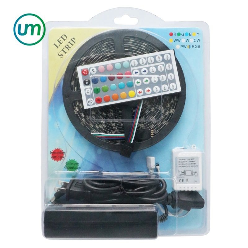 물집 Kit 팩 5 m 5050 Smd RGB 300 Led Strip 빛 와 Ir Controller 어댑터