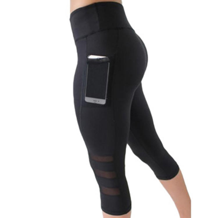 Fitness Sport wears Women wholesale mesh leggings workout with pockets yoga pants sport capri leggings