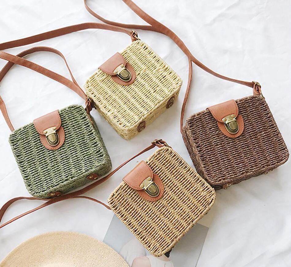 Hotting Candy Color Shoulder Bag Handmade Straw Bags Mini Woven Flap Sweet Pastoral Style Rattan Bag