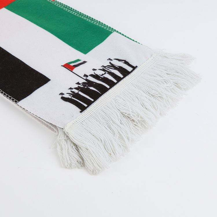 Beautiful design eco-friendly furry material United Arab Emirates fans cheering custom colors soccer football scarf with tassel