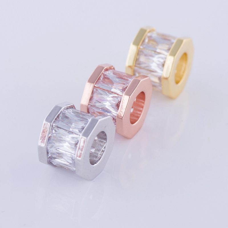 custom design diy jewelry beads copper alloy silver gold rose gold micro paved zircon crystal large hole metal beads