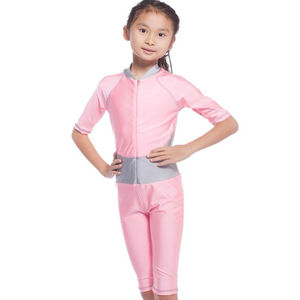 Wholesale Fashional Muslim design Middle East girl zip one-piece assorted colors Islamic swimsuit