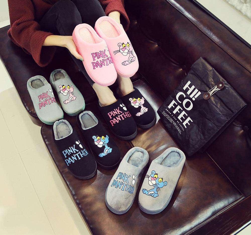 Winter lovely cartoon cotton slippers women home indoor warm and non-slip pink panther couple plush slippers