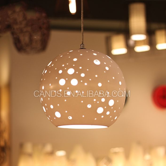 Ball Lamp Economic Price And High Quality Carved Hole Ball Ceramic Pendant Lamp