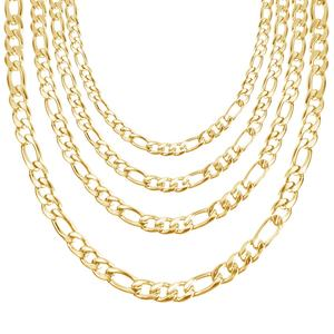 14K Gold Plated Figaro Curb Link Chain Stainless Steel Figaro Necklace Chain Men Designs