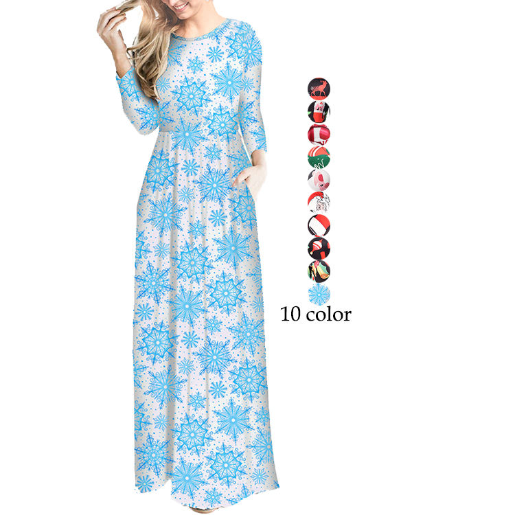 Latest Design Christmas Print Fashion Women Long Sleeve Casual Maxi Dress