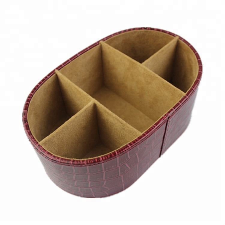 Genuine Real Split Bonded faux leather desk storage box pen holder