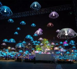Easy installed IP65 Christmas Decorations Jellyfish Light Fiber Optic Light