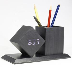 KH-WC010 Office Alarm Student and Thermometer Crystal Stand Digital Desk Table Wooden Clock with Pen Holder