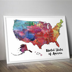 Scratch Off USA Travel Map Silver Foil & Watercolor Modern Poster with coated paper