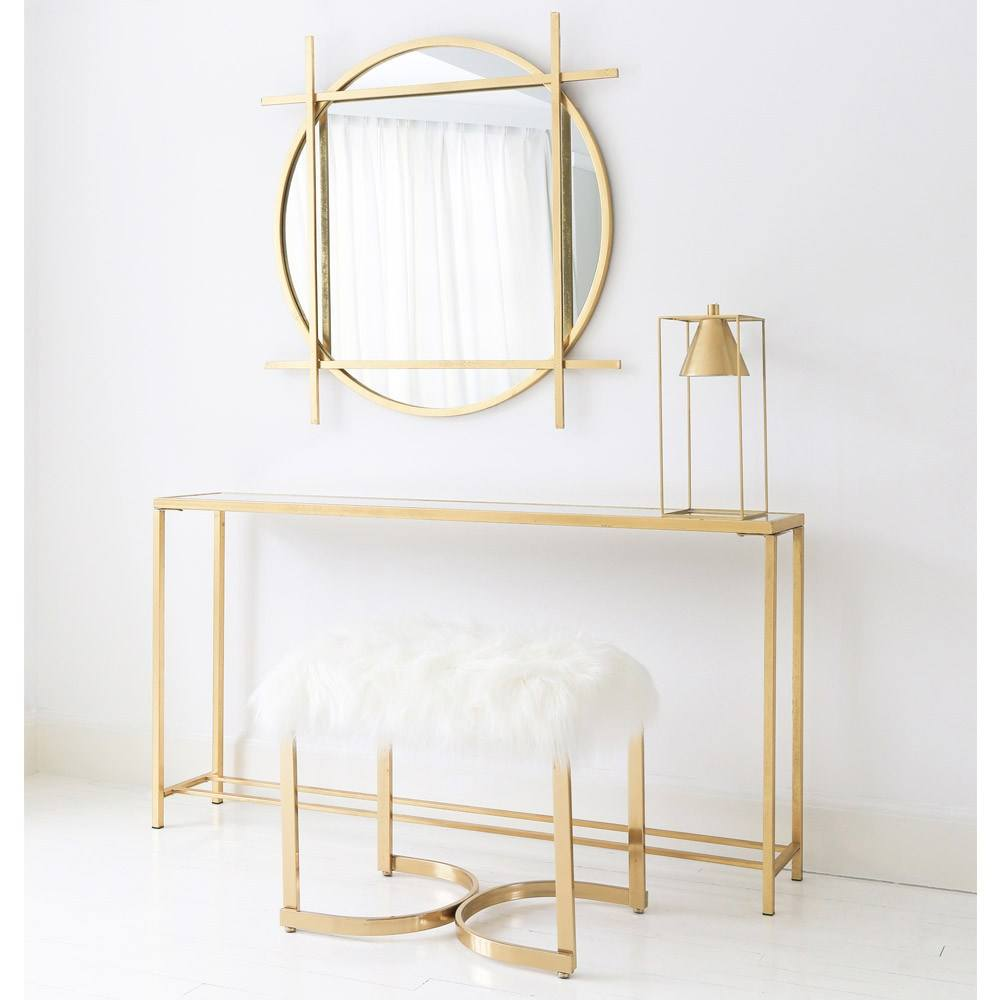 Simple Elegant With Gold Surround Gold Cross Design Frame Large Dressers with Circular Mirror