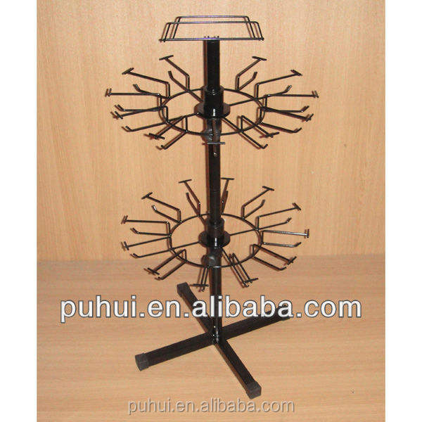 products hanging retail shop promotion 2 layers counter stand revolving rack display with 24 prong hooks