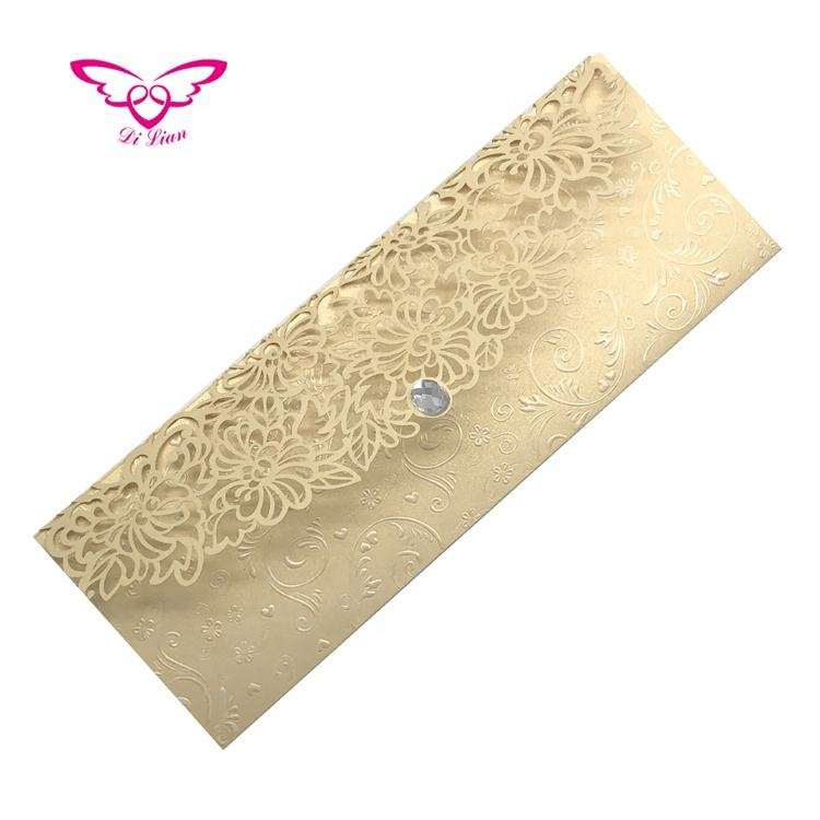 Thri Fold Long Shimmer Embossing Laser Cut Floral Gold Pearl Paper Wedding Card Invitation