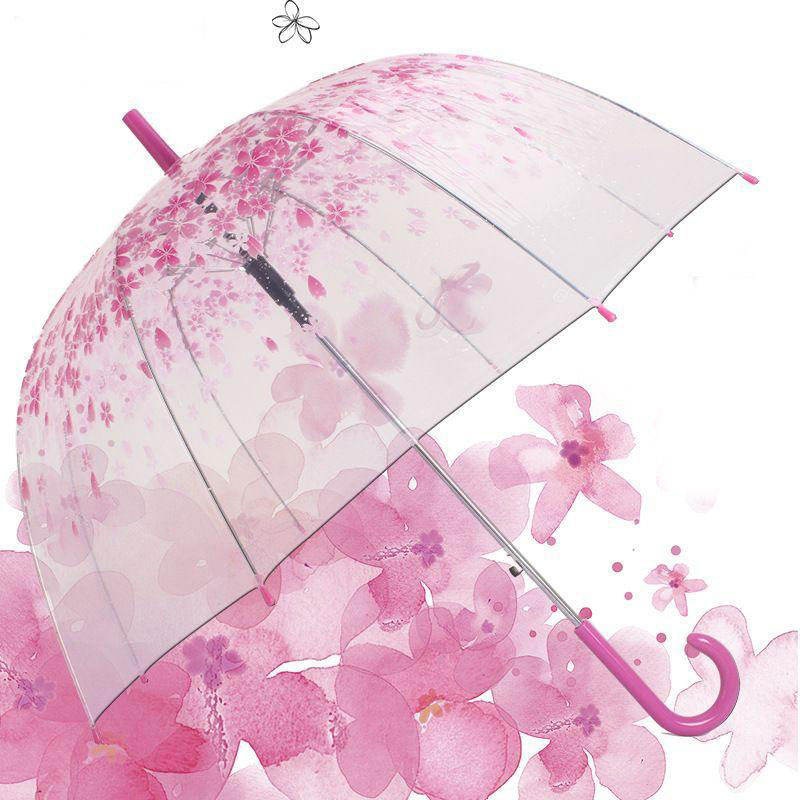 Custom Print Frame Straight Flower POE Transparent Promotion Umbrella For Gifts