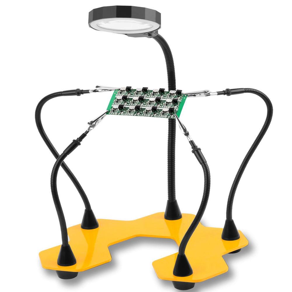 TIEMPO DE SALDI Lente de aumento de mesa con luz LED y brazos pinzas soporte Terza mano