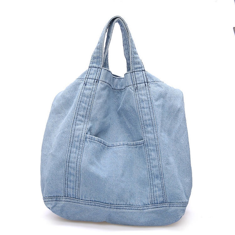 Womens Casual Denim Handbag Shoulder Bag Purse Soft Jeans Shopping Bag Large Capacity Tote Holes Bag with Cell Phone Pouch