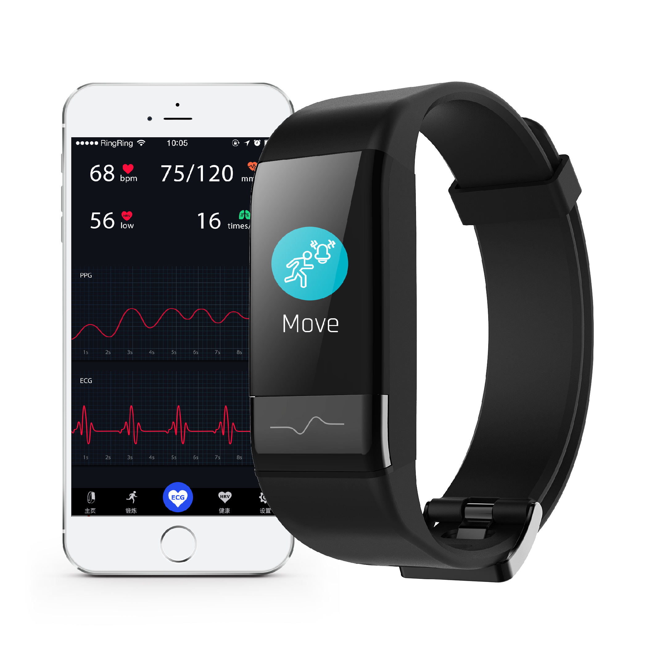 J-Stijl 1790 Ecg Holter Smart Band Ce Rohs Smart Armband