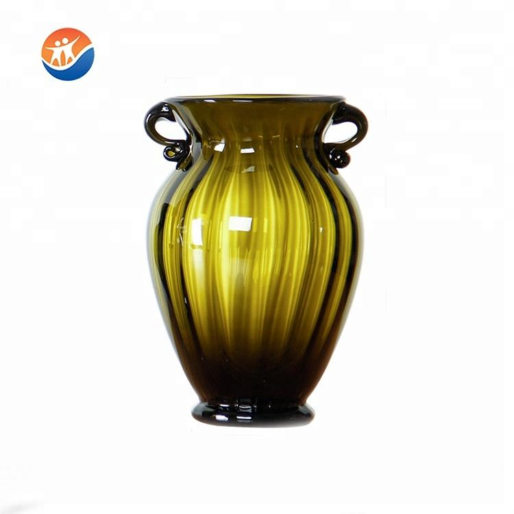 binaural shaped glass flower vase for home wedding decoration