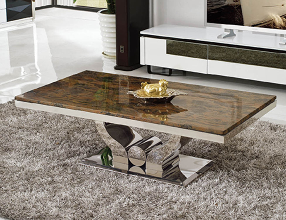 C345 living room furniture stainless steel modern marble tea table