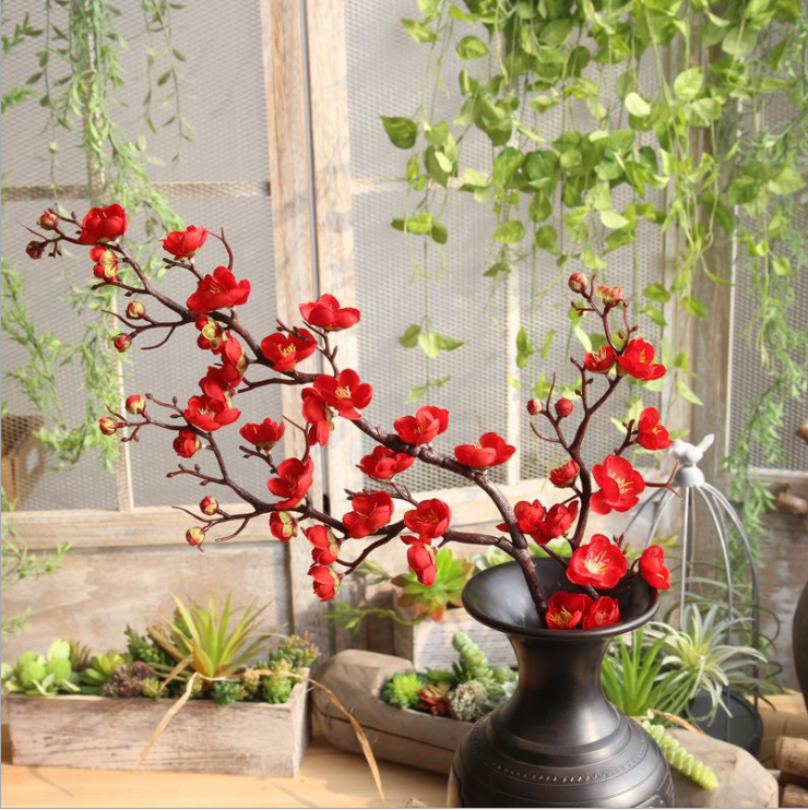 Chinese pastoral plum blossom artificial flower classical peach home wedding decoration