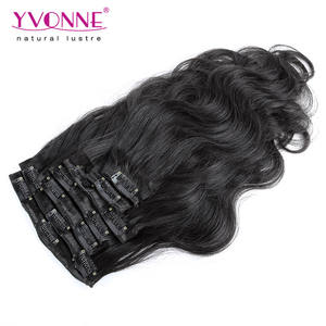 Low price human hair clip in hair extensions body wave