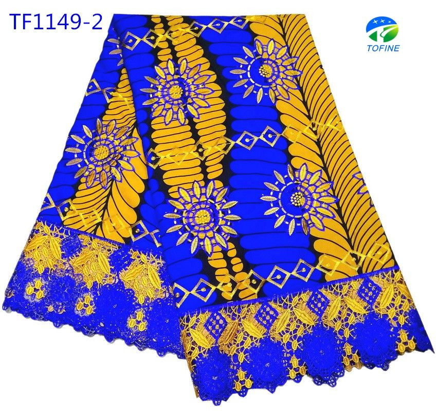 New hot selling 100% cotton ankara holland wax print fabrics with embroidery lace