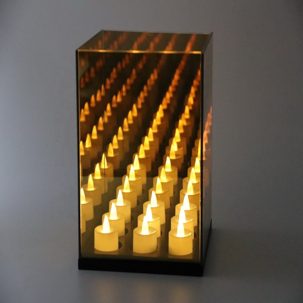 2019 top sale! 9 cube infinity mirror box candle with black wooden base