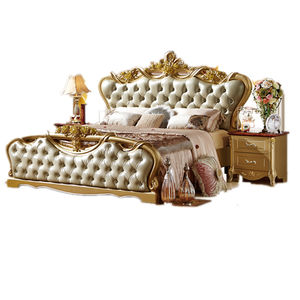 Europe style Italian bedroom set furniture luxury classic king size wooden bed double carved gold bed designs