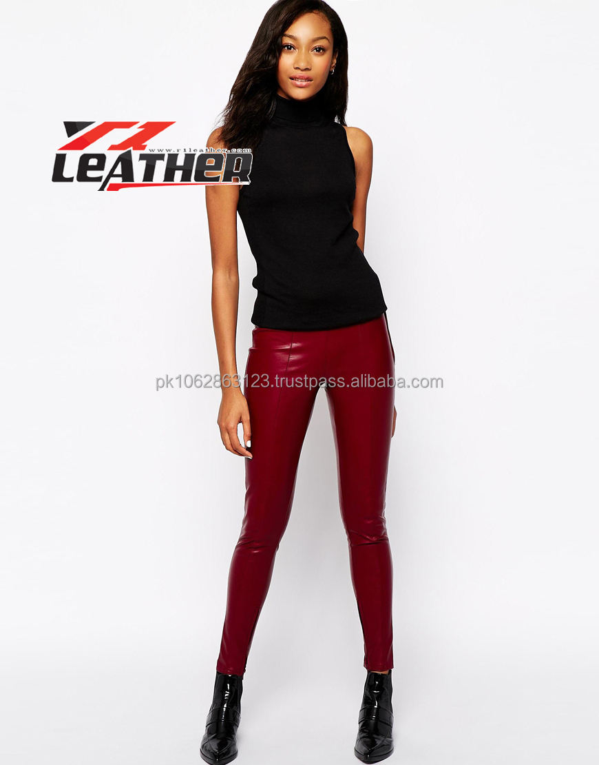 Leather Pants Women/Sheep skin leather in red color