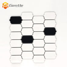 Century white and black thassos ceramic tiles best arabesque tile glossy surface mosaic
