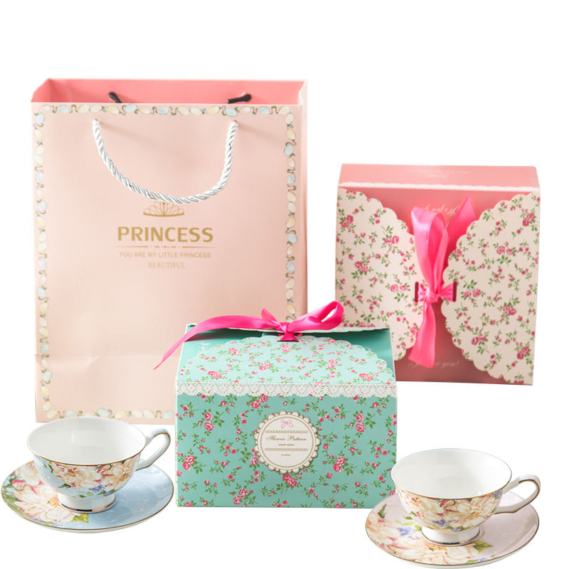 Awalong fine bone china coffee tea cup sets in gift box