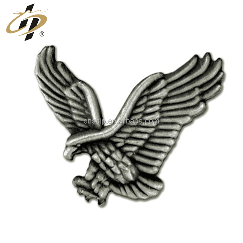 Die cut alloy antique silver metal 3D animal pin badges